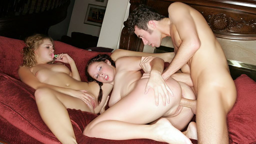 As they continue with their wild gangbang party, horny girls, Gianna Michaels and Mysti May were more than ready to get themselves fucked over and over again. This time, the busty brunette gets fucked while the blondie sucks on a pacifier while masturbating.